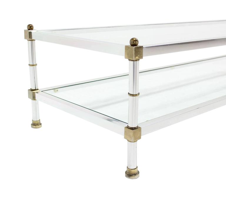 20th Century Chrome Brass Glass Top Large Rectangular Coffee Table For Sale