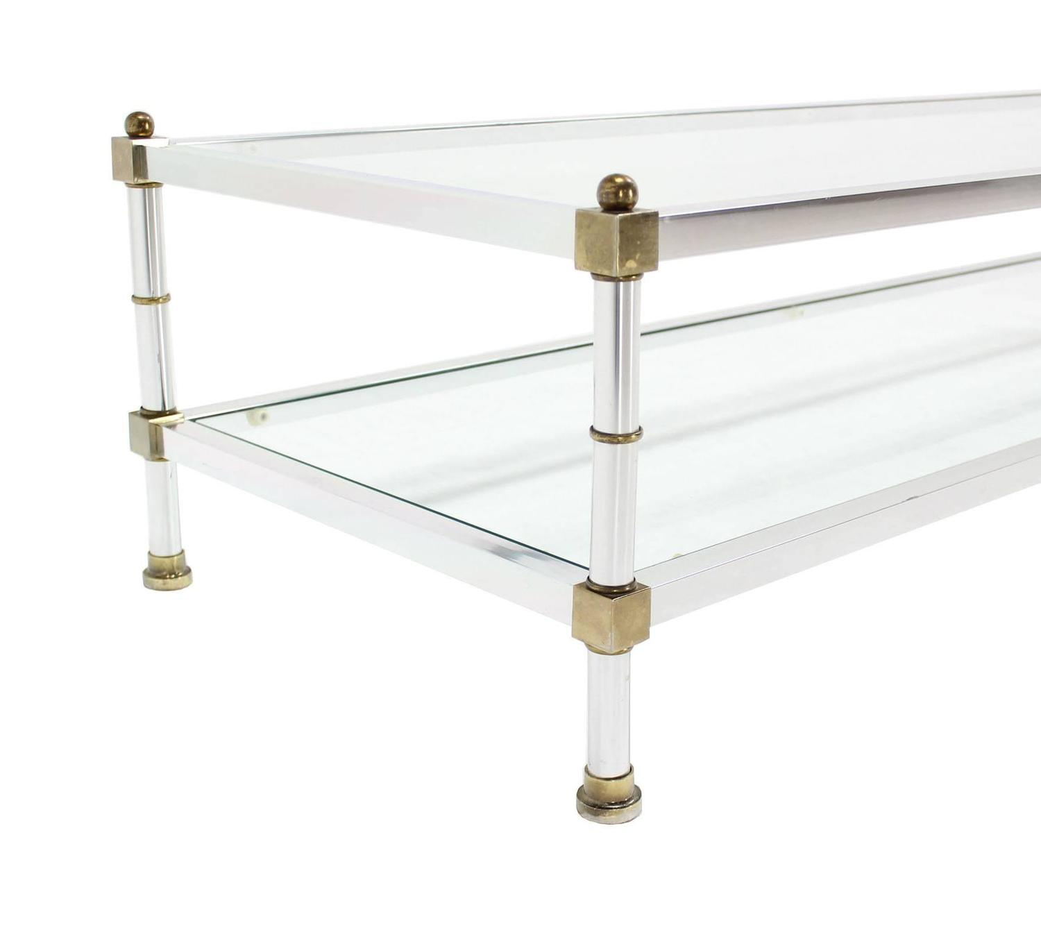 Chrome Brass Glass Top Rectangular Coffee Table For Sale