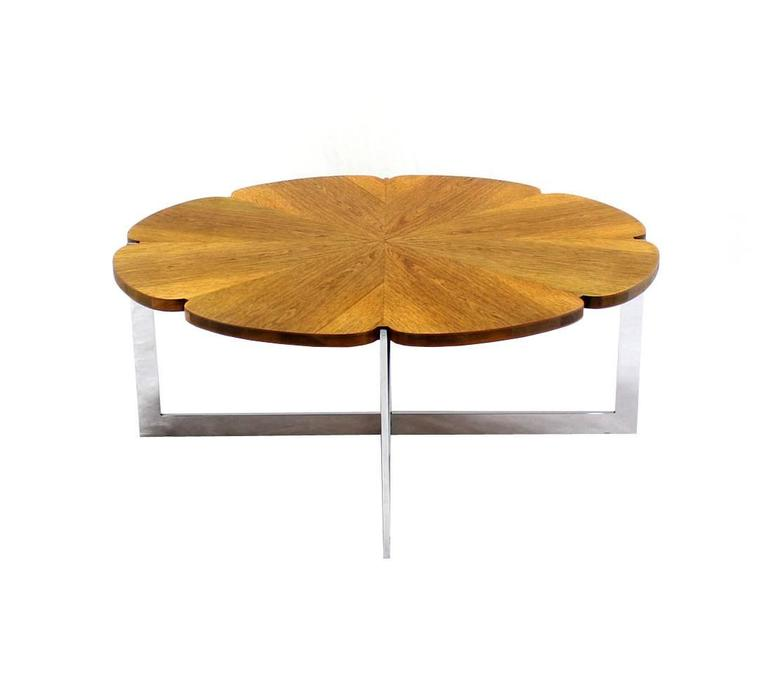 20th Century Daisy Shape Round Walnut Top Chrome X Base Coffee Table For Sale