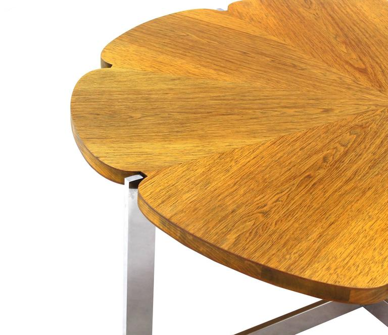 Polished Daisy Shape Round Walnut Top Chrome X Base Coffee Table For Sale