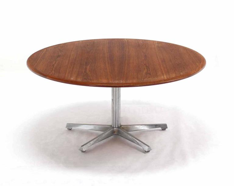 Hi Lo Convertible Coffee Dining Dinette Teak Table On 5 Point Star Base For Sale At 1stdibs