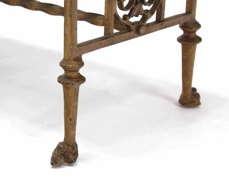 Upholstery Gothic Cast Iron Art Deco Claw Feet Bench For Sale