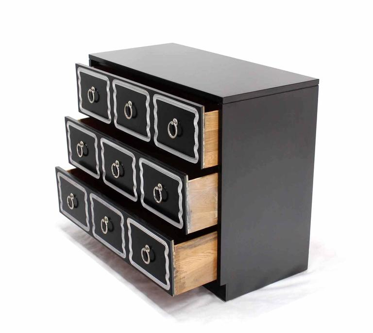 Dorothy draper black and silver three drawer chest of