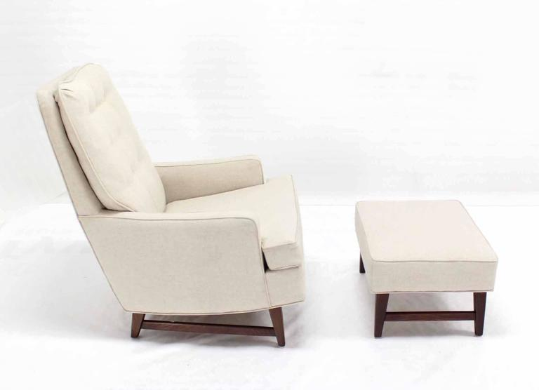 Midcentury Lounge Chair with Ottoman on Walnut Base New Upholstery 1