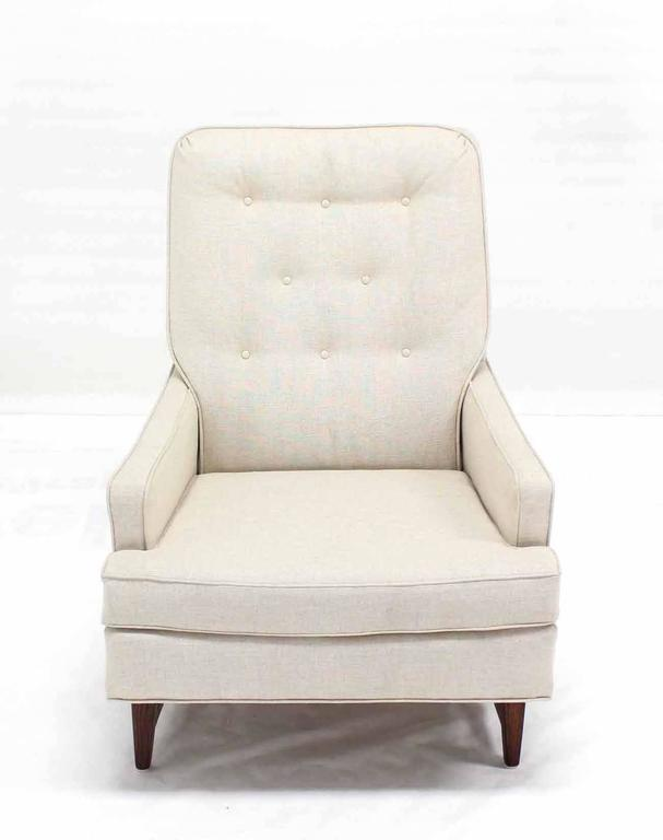 Linen Midcentury Lounge Chair with Ottoman on Walnut Base New Upholstery