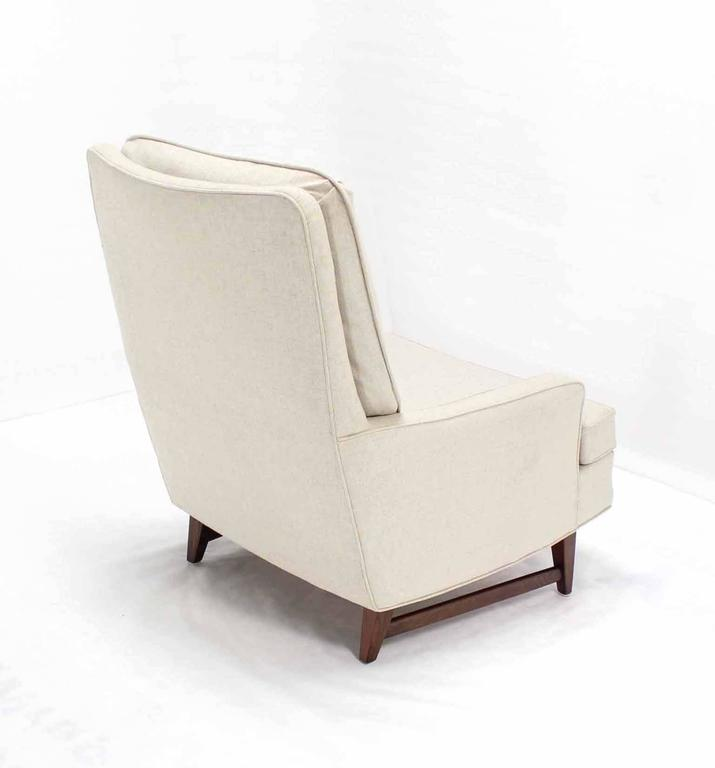 Lacquered Midcentury Lounge Chair with Ottoman on Walnut Base New Upholstery