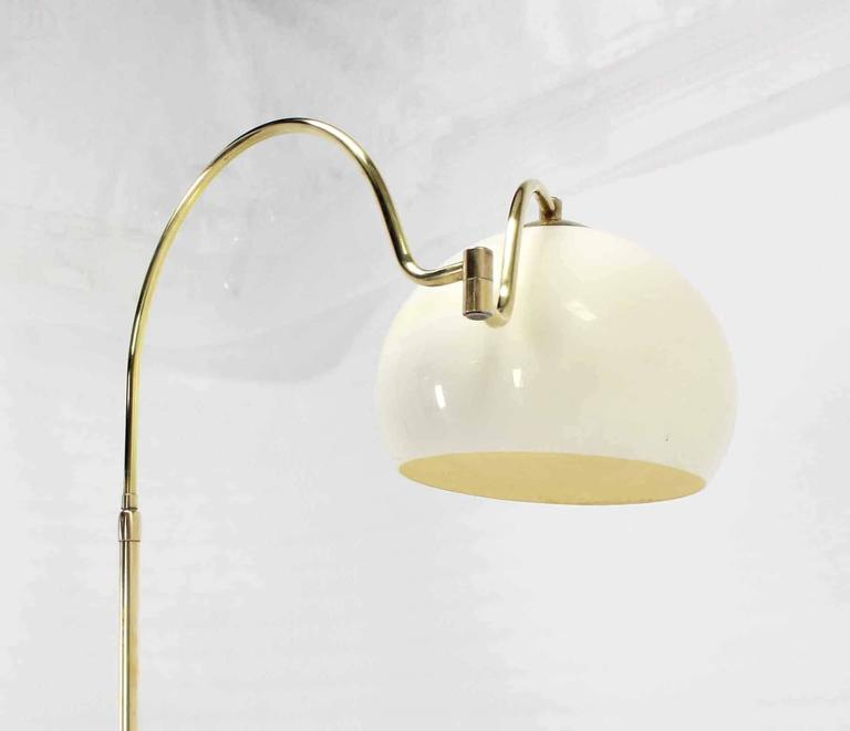 American Fully Adjustable Mid Century Modern Brass Base Floor Lamp Globe Shade For Sale