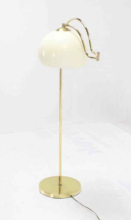 Fully Adjustable Mid Century Modern Brass Base Floor Lamp Globe Shade For Sale 1