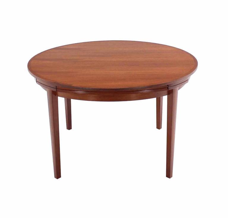 Rare danish modern teak round expandable top dining table for Modern round dining table for 6