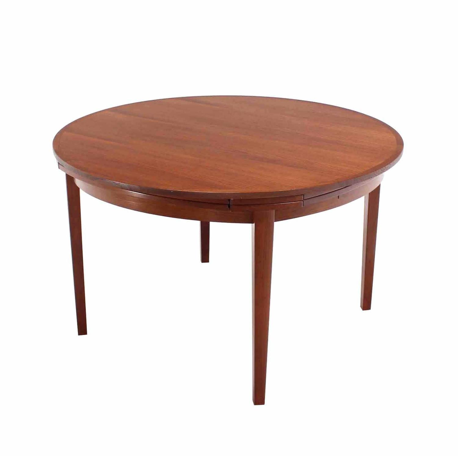 Rare danish modern teak round expandable top dining table for Dining room furniture modern