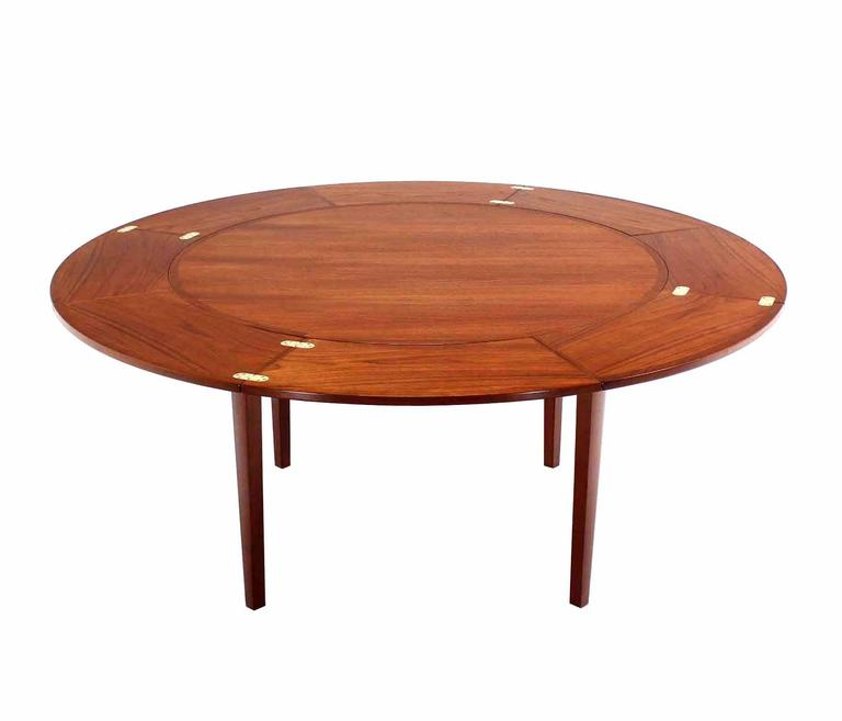 Mid Century Modern Rare Danish Teak Round Expandable Top Dining Table For