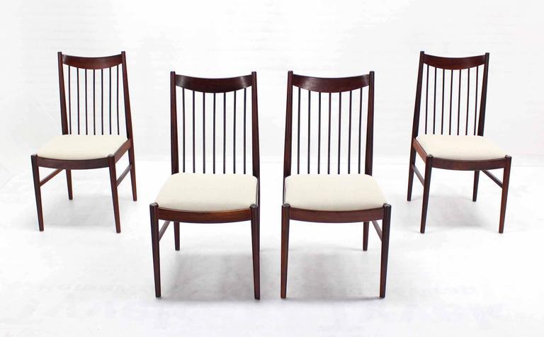 Set Of Four Danish Mid Century Danish Modern Rosewood Spindle Back Dining Cha