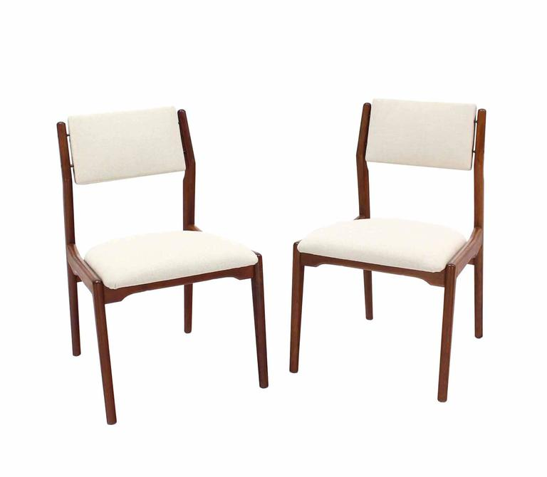 Set Of Six Walnut Danish Mid Century Modern Dining Chairs New Upholstery At 1