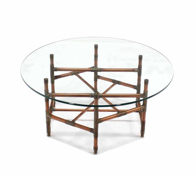 Copper Pipe And Fitting Sculpture Base Round Glass Top Coffee Table In  Excellent Condition For Sale