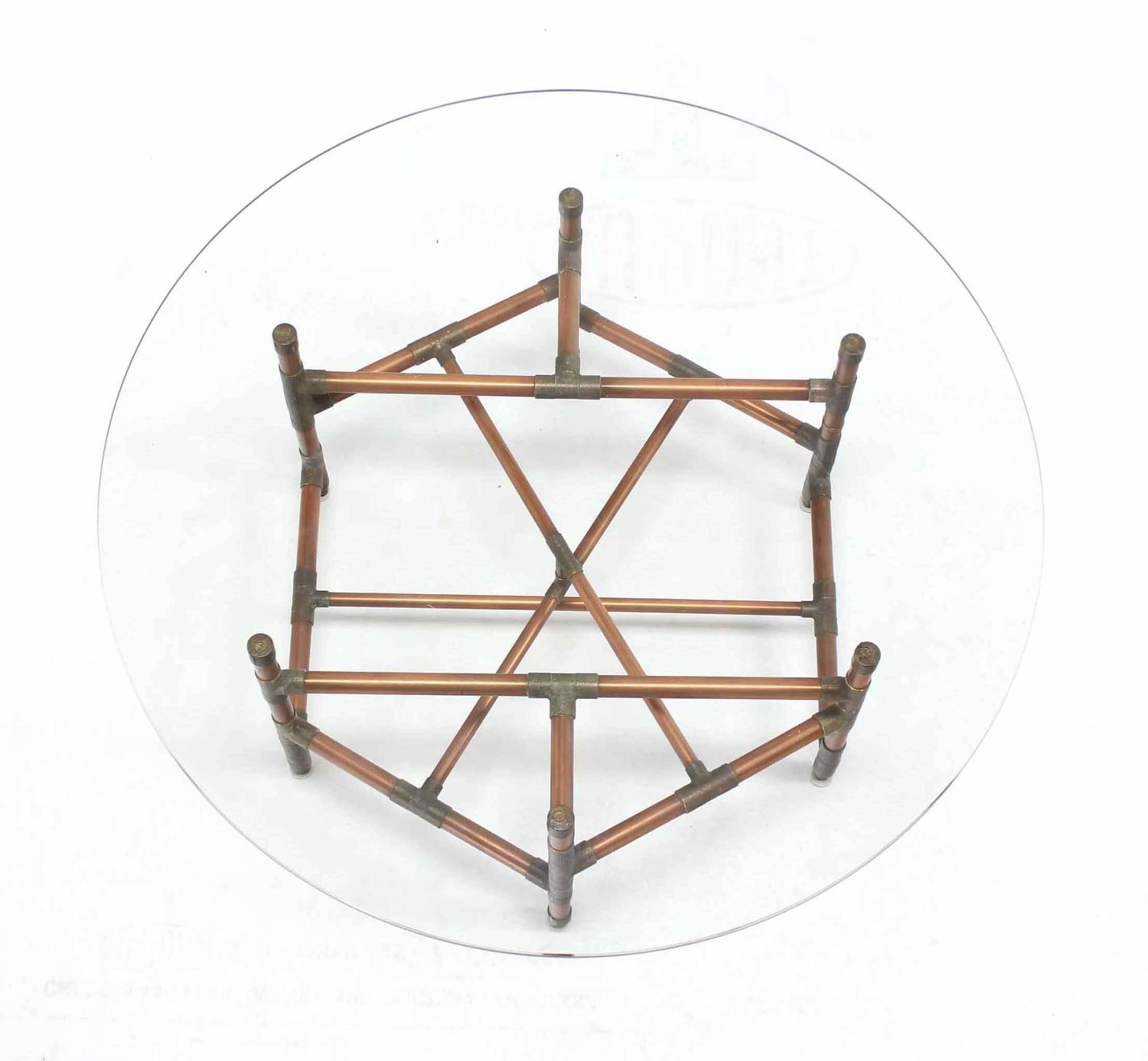 Copper Pipe And Fitting Base Round Glass Top Coffee Table For Sale At 1stdibs