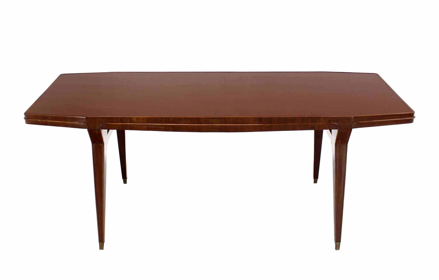 Large italian modern walnut dining conference table for for Modern large dining table