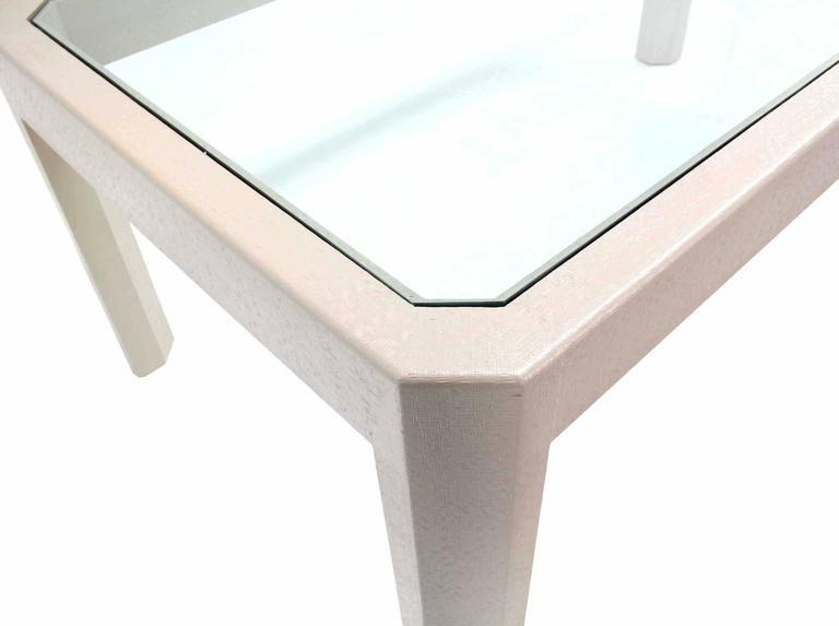 Lacquered cloth frame glass top rectangular dining table for Best dining table material
