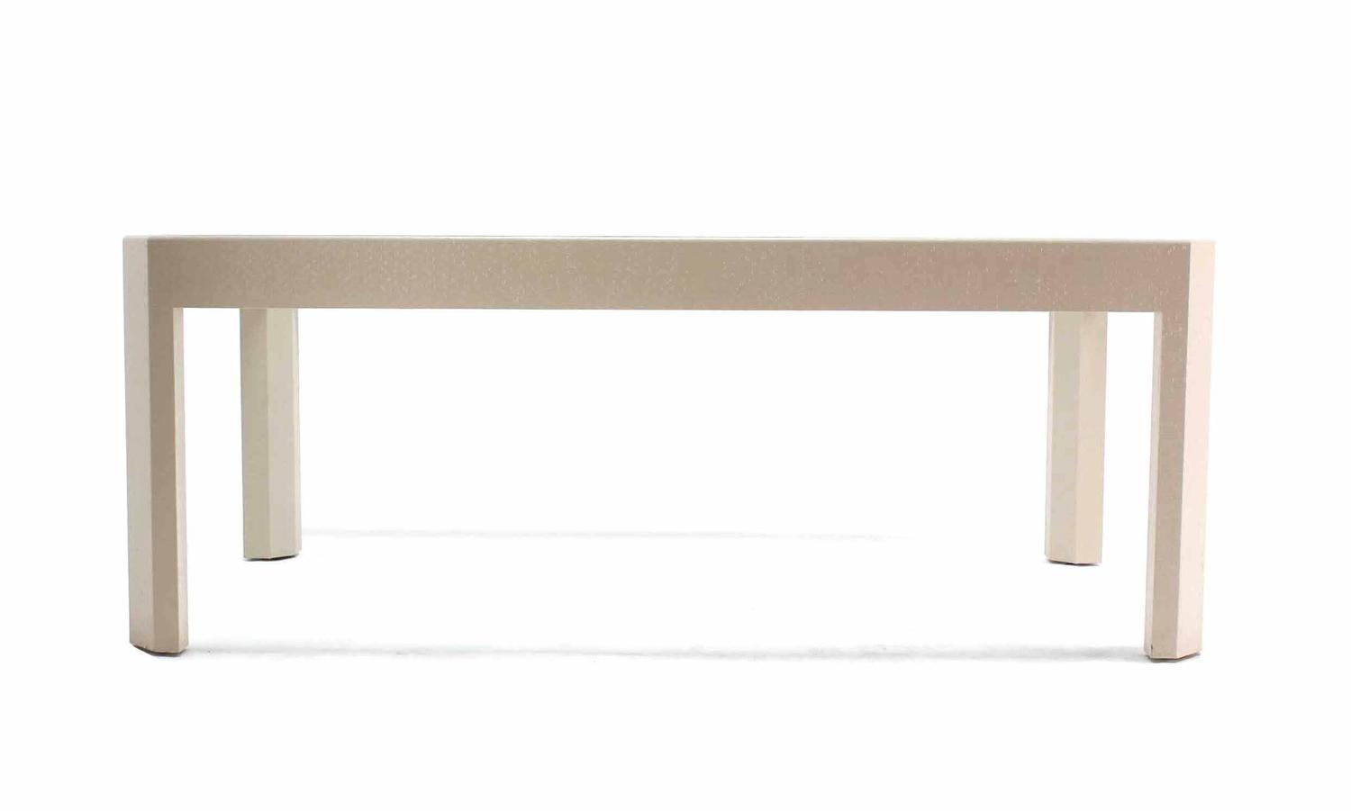lacquered cloth frame glass top dining table for sale at