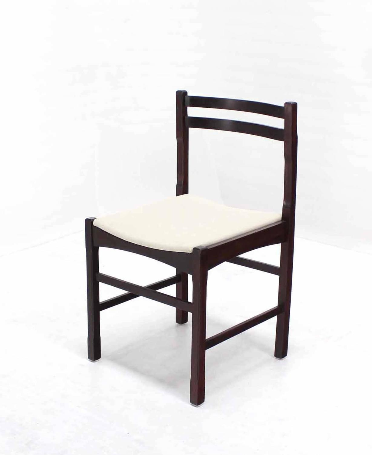 Set Of Mid Century Modern Rosewood Dining Chairs With New Upholstery For Sale