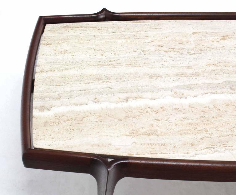 Travertine Top Walnut Frame Mid Century Modern Boat Shape Coffee Table