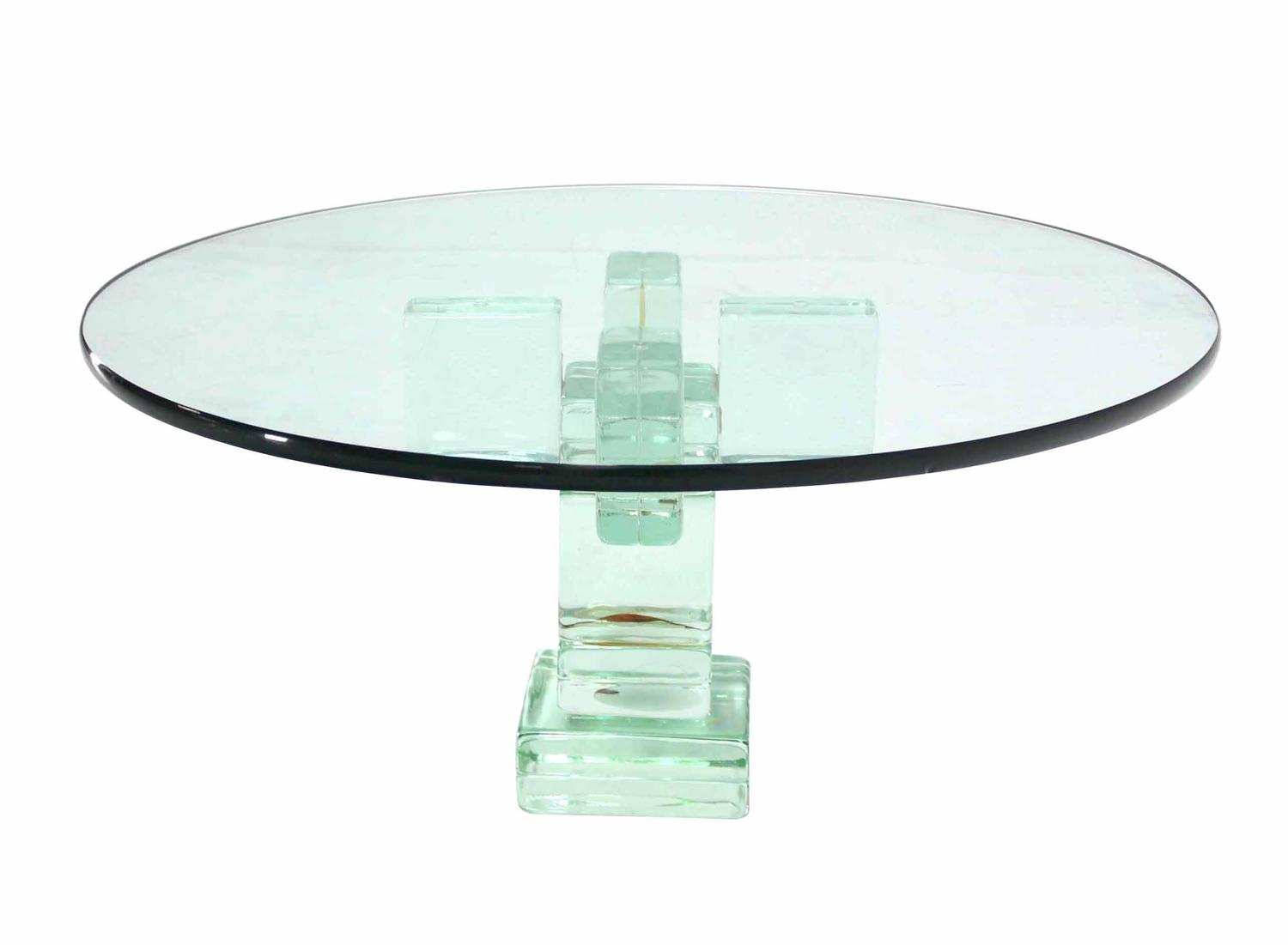 Iridescent glass block base round coffee table for sale at for Round glass coffee tables for sale