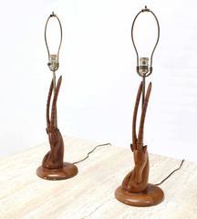 Pair of Sculptural Gazelle Motive Walnut Table Lamps