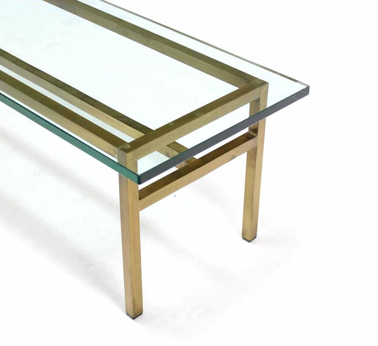 Mid Century Modern Soldered Square Solid Brass Bar Rectangular Coffee Table Thick Glass Top For