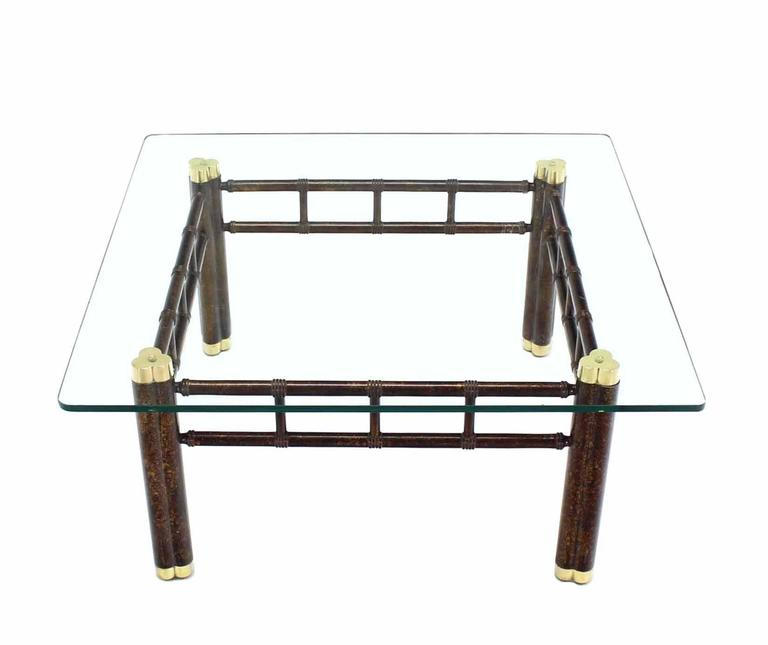 Bamboo Tortoise Coffee Table: Faux Bamboo Bronzed Metal Base Square Coffee Table For