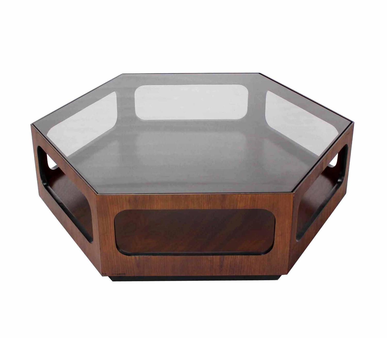 Beautiful Hexagon Oiled Walnut Base Coffee Table At 1stdibs