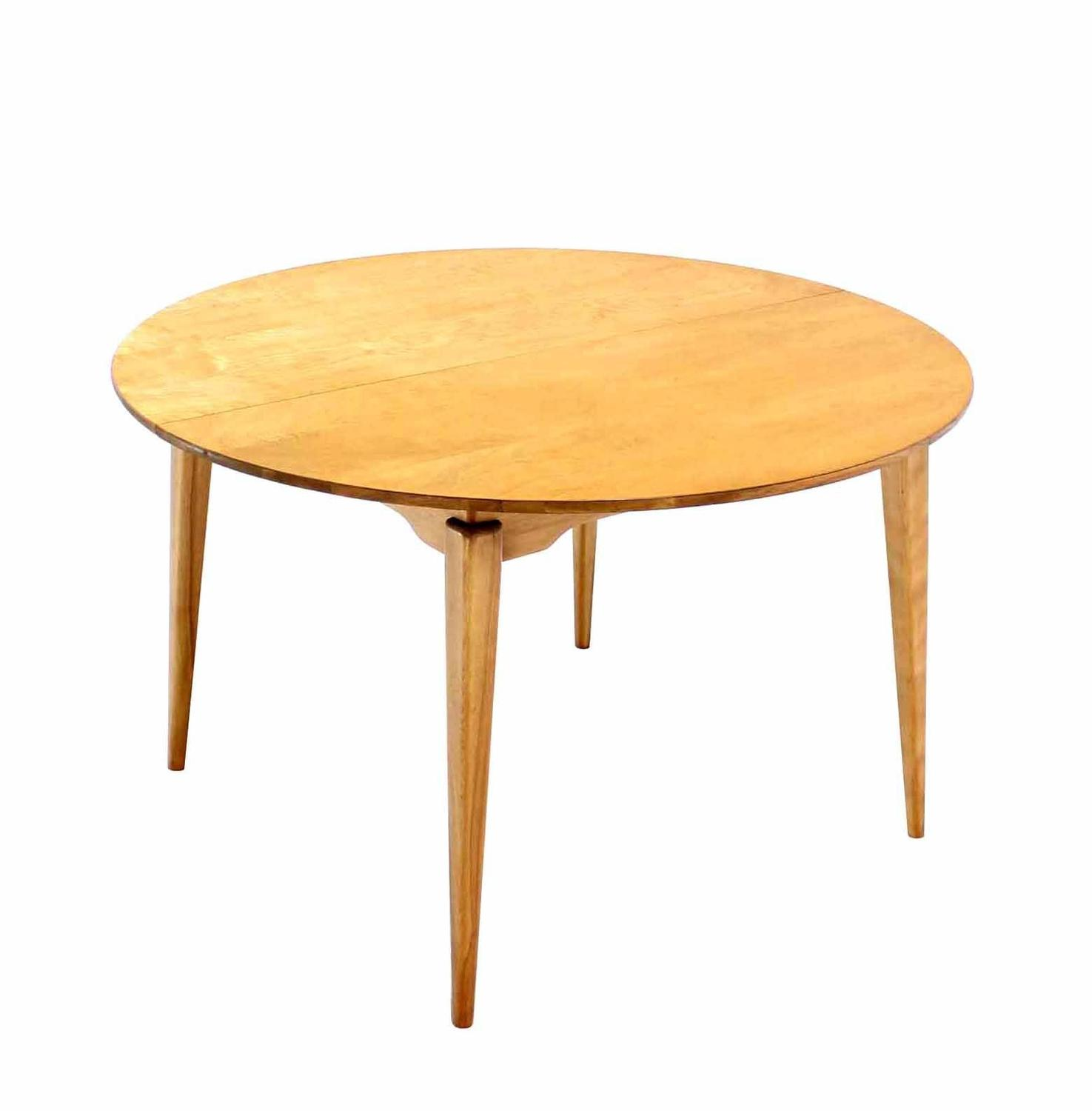 round birch dining table with three leaves for sale at 1stdibs