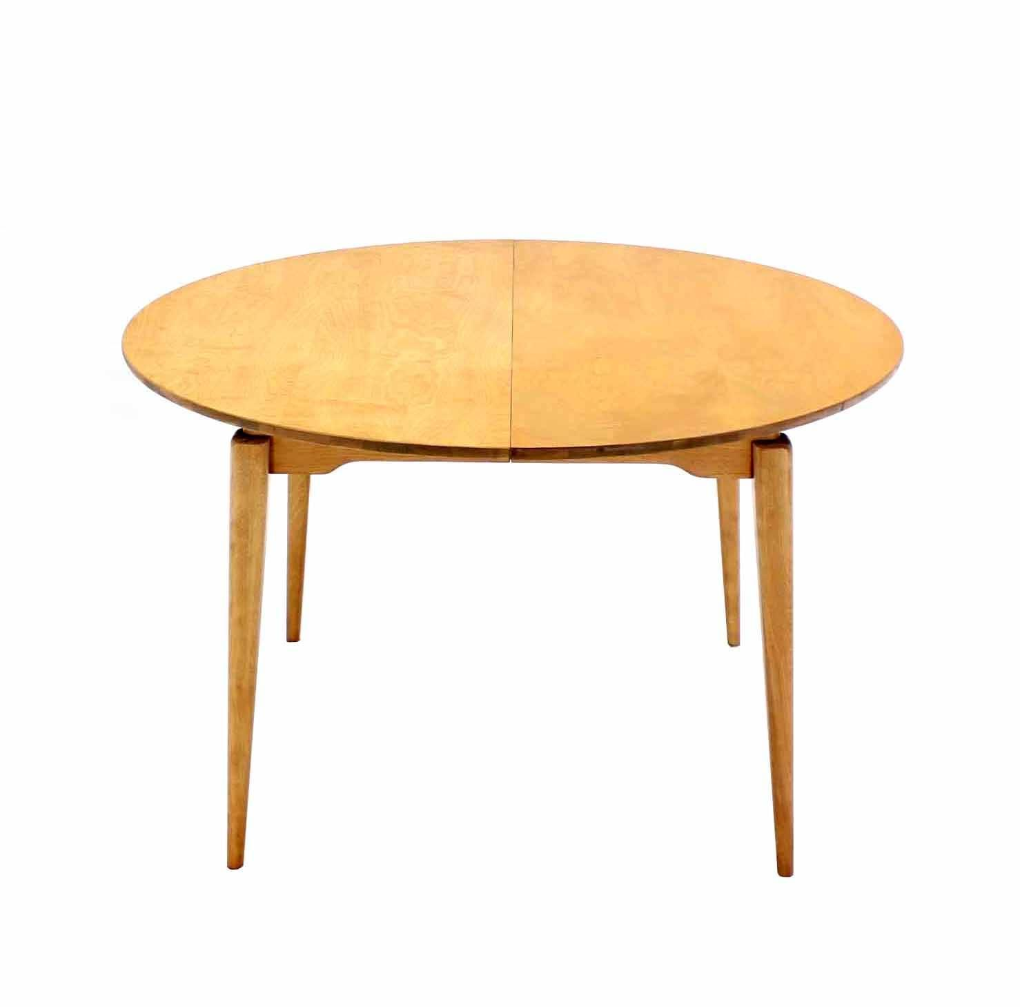 Round birch dining table with three leaves for sale at 1stdibs for Dining table with two leaves
