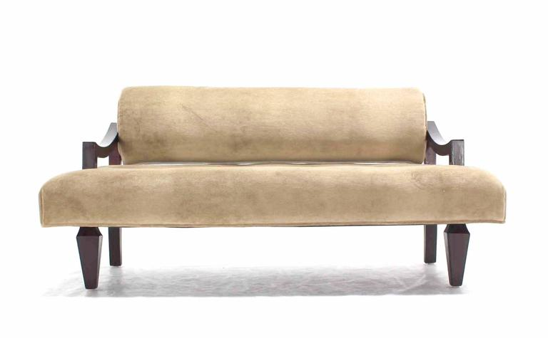 20th Century Mid Century Loveseat Settee Newly Upholstered in Camel Mohair For Sale