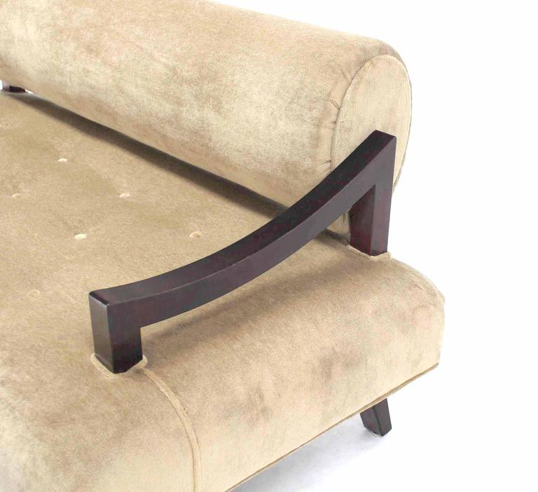 American Mid Century Loveseat Settee Newly Upholstered in Camel Mohair For Sale