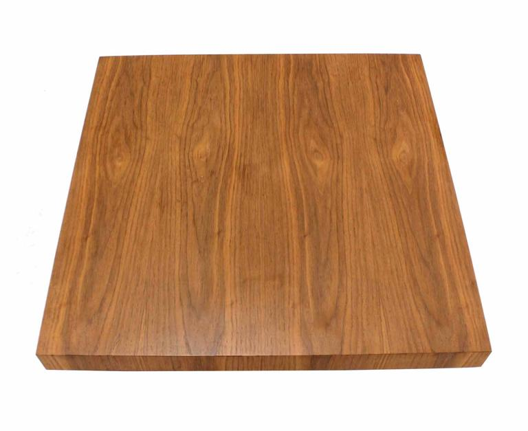Lacquered Massive Large Square Walnut Top Chrome Base Coffee Table For Sale