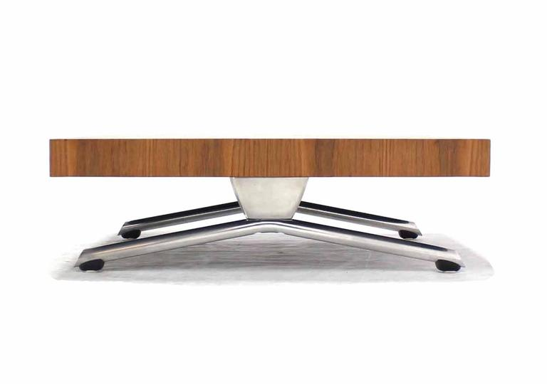 American Massive Large Square Walnut Top Chrome Base Coffee Table For Sale