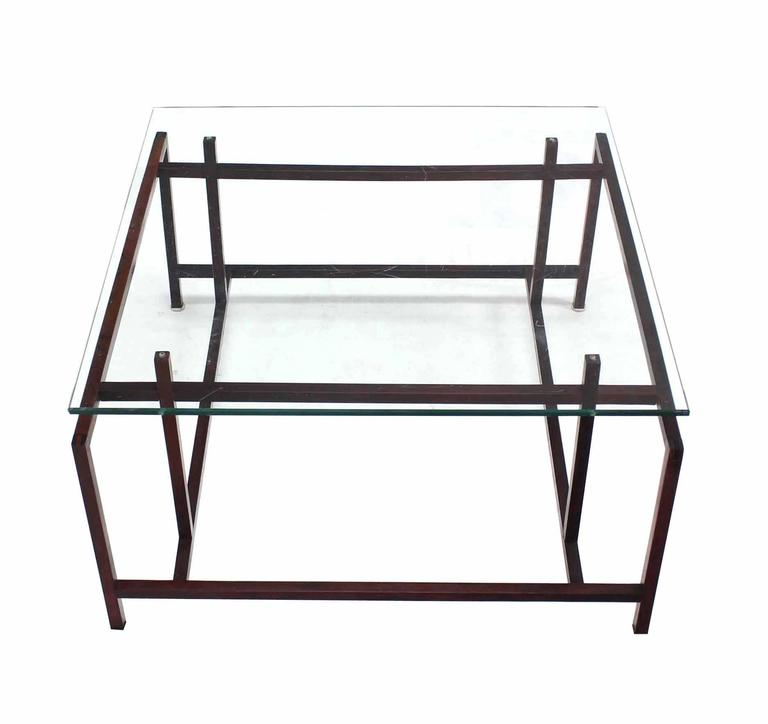 Square Rosewood Geometrical Base Glass Top Mid Century Modern Coffee Table For Sale At 1stdibs