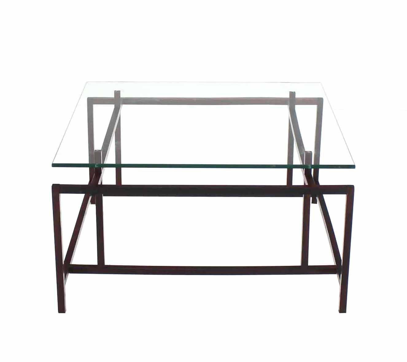 Rosewood Geometrical Base Glass Top Mid Century Modern Coffee Table For Sale At 1stdibs