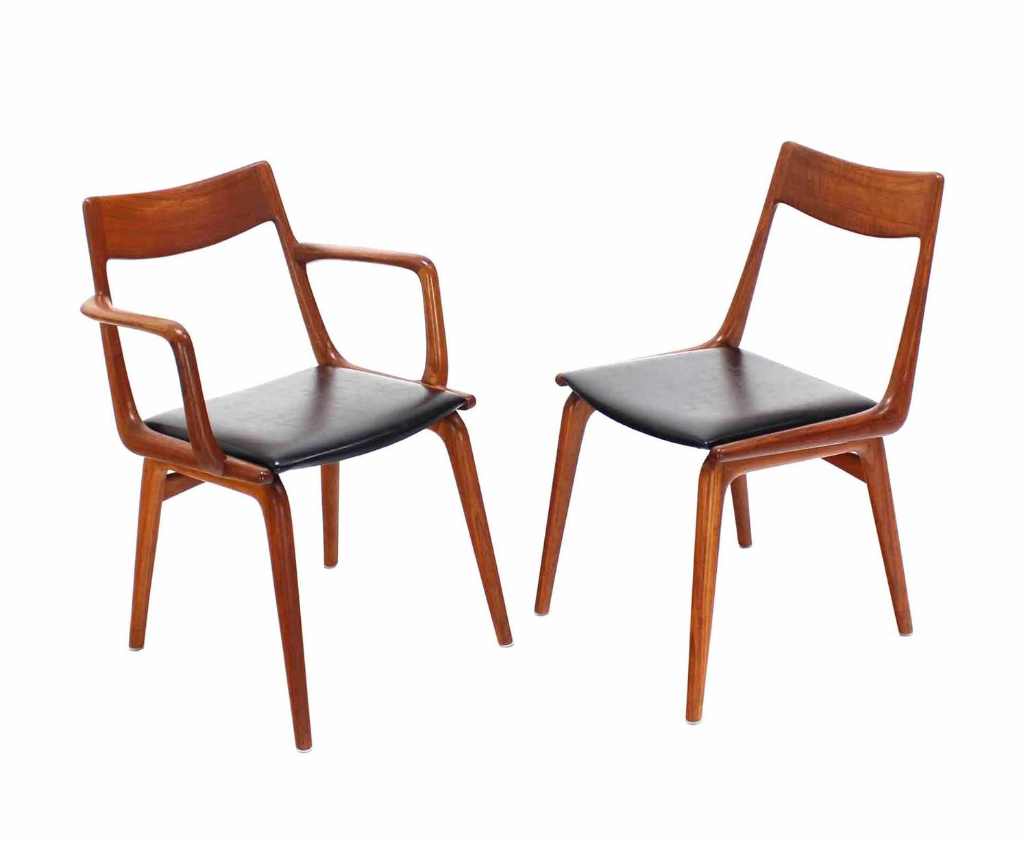 sculpted walnut mid century modern dining chairs for sale at 1stdibs