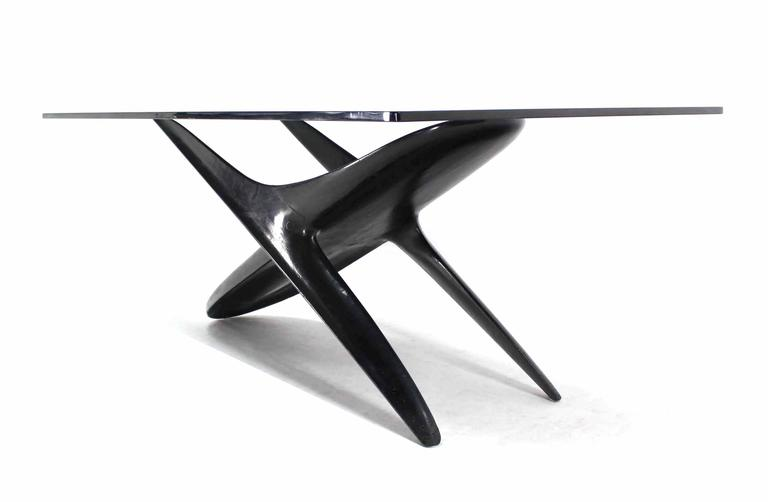 Italian modern organic black lacquer base dining table at for Unusual shaped dining tables