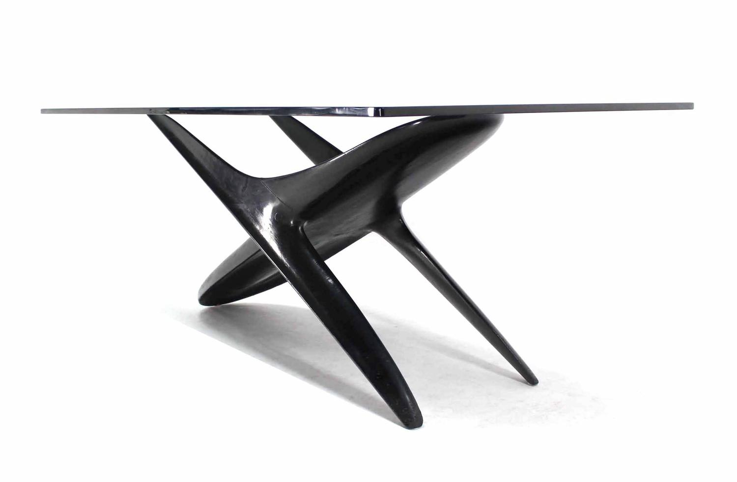 italian modern organic black lacquer base dining table for sale at