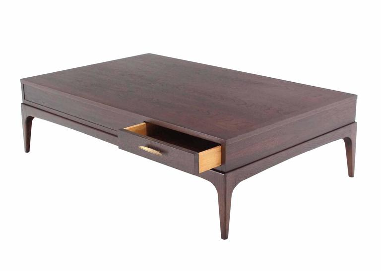 Lacquered Large Rectangle One-Drawer Walnut Coffee Table For Sale