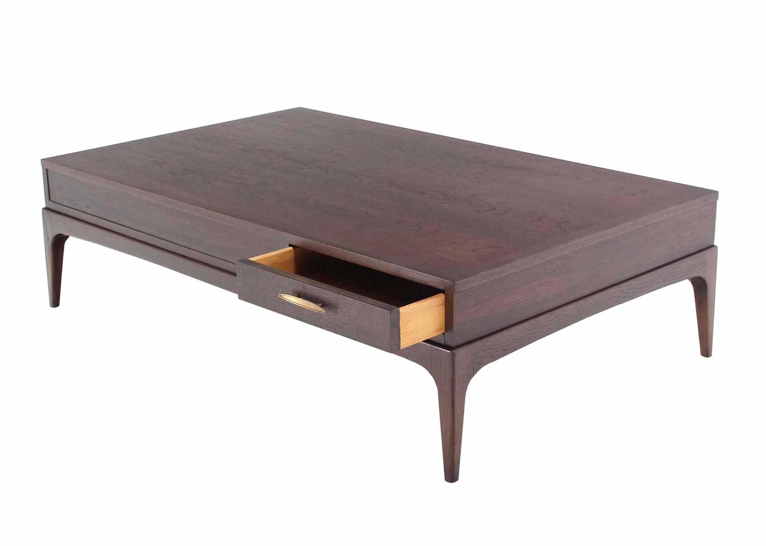 Large Rectangle One Drawer Walnut Coffee Table For Sale At