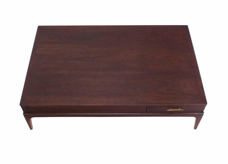 20th Century Large Rectangle One-Drawer Walnut Coffee Table For Sale