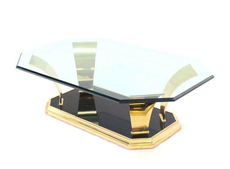 Brass Modern Leaf Motif Base and Glass Top Rectangular Coffee Table For Sale 2