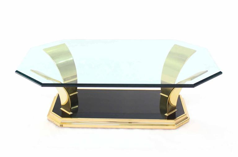 Brass Modern Leaf Motif Base and Glass Top Rectangular Coffee Table For Sale 3