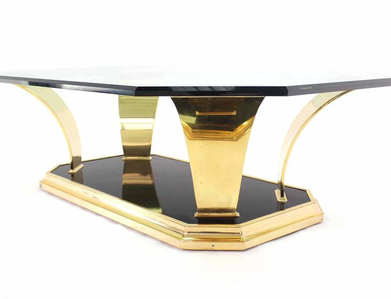 Polished Brass Modern Leaf Motif Base and Glass Top Rectangular Coffee Table For Sale