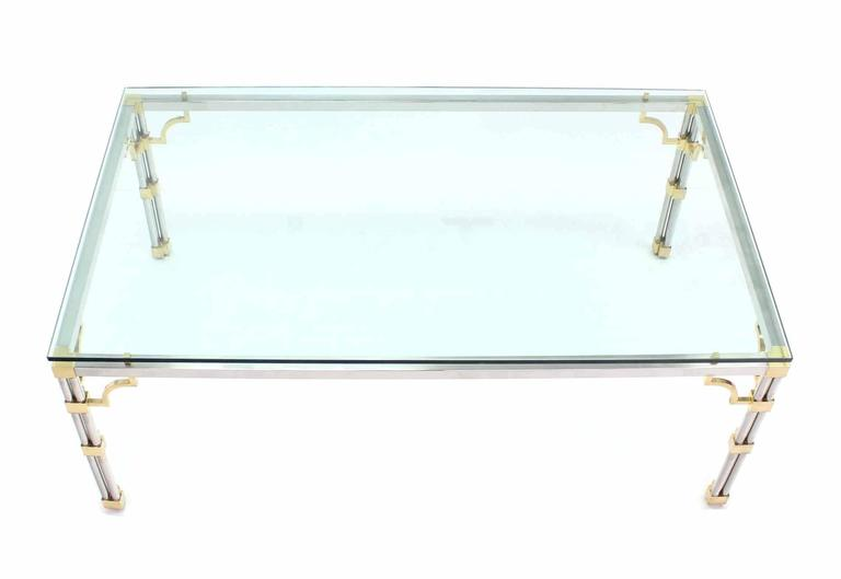 American Glass Top Rectangle Chrome Brass Dining Conference Table For Sale