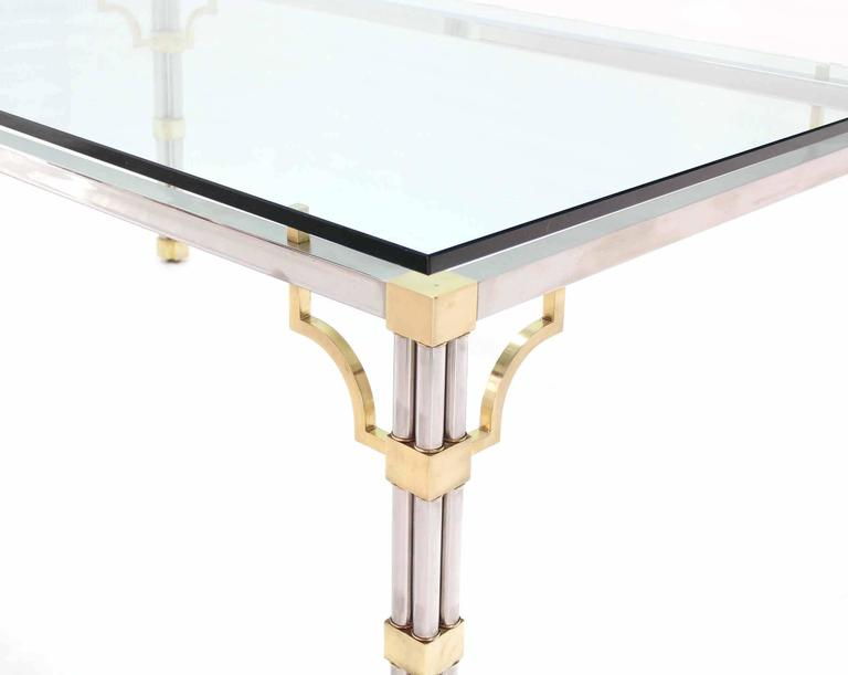 Mid-Century Modern Glass Top Rectangle Chrome Brass Dining Conference Table For Sale
