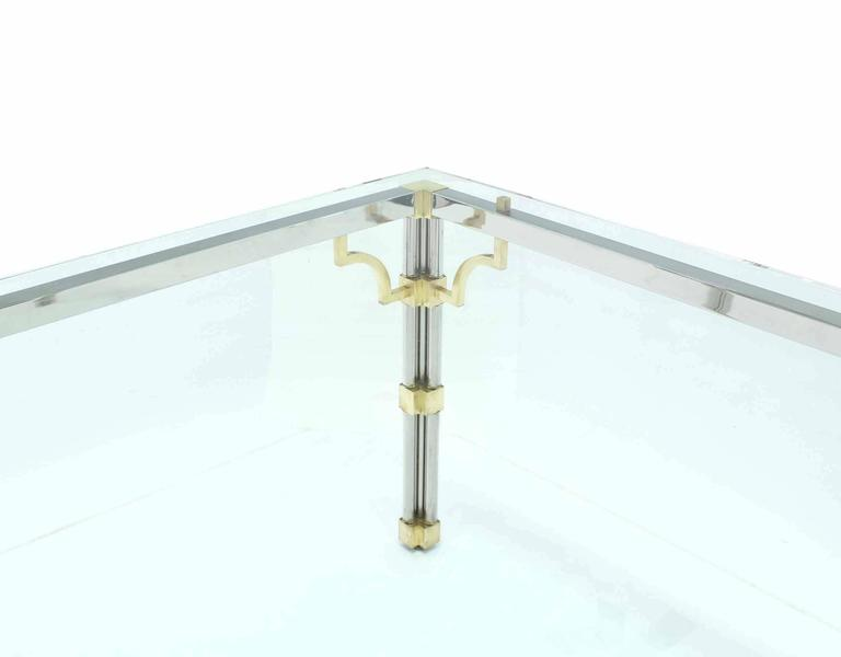 Polished Glass Top Rectangle Chrome Brass Dining Conference Table For Sale