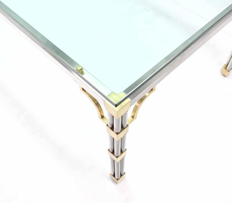 Glass Top Rectangle Chrome Brass Dining Conference Table In Excellent Condition For Sale In Rockaway, NJ